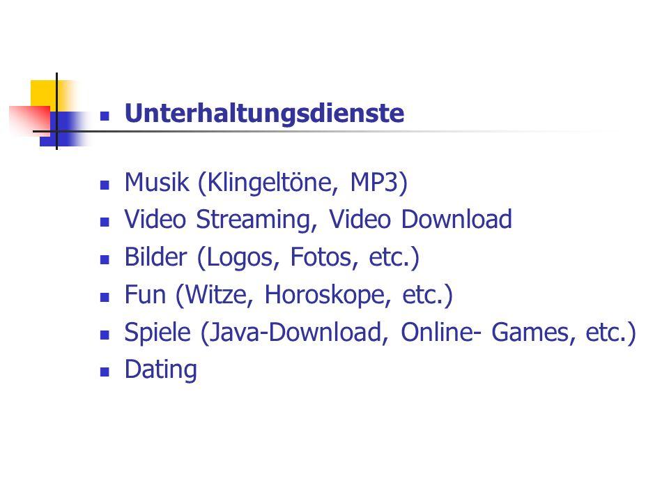 Unterhaltungsdienste Musik (Klingeltöne, MP3) Video Streaming, Video Download Bilder (Logos, Fotos, etc.) Fun (Witze, Horoskope, etc.) Spiele (Java-Do