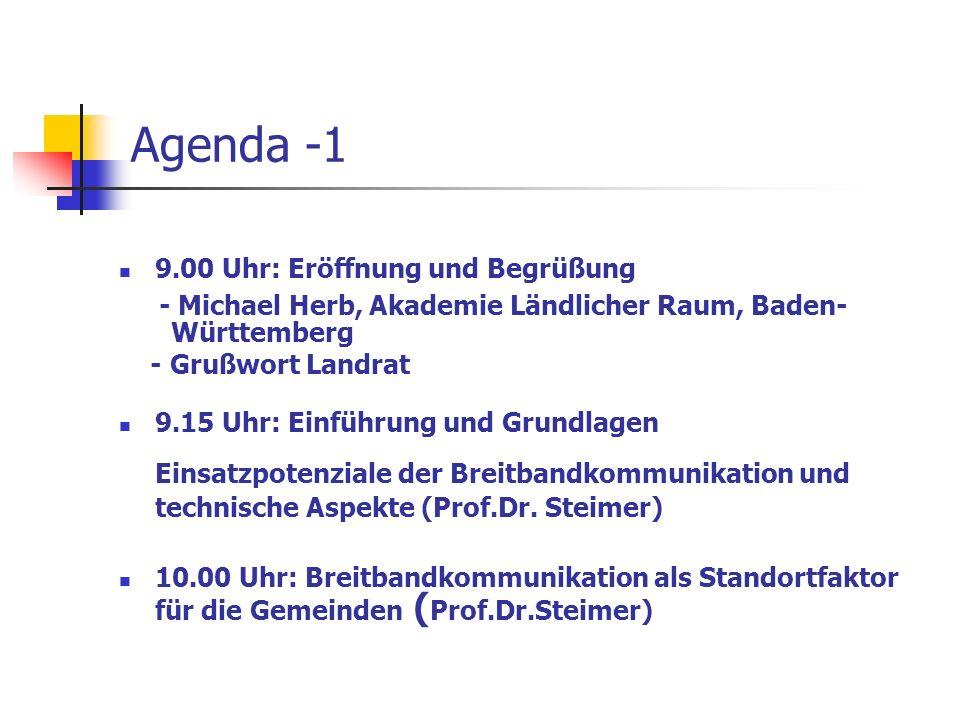 Agenda -1 9.00 Uhr: Eröffnung und Begrüßung - Michael Herb, Akademie Ländlicher Raum, Baden- Württemberg - Grußwort Landrat 9.15 Uhr: Einführung und G
