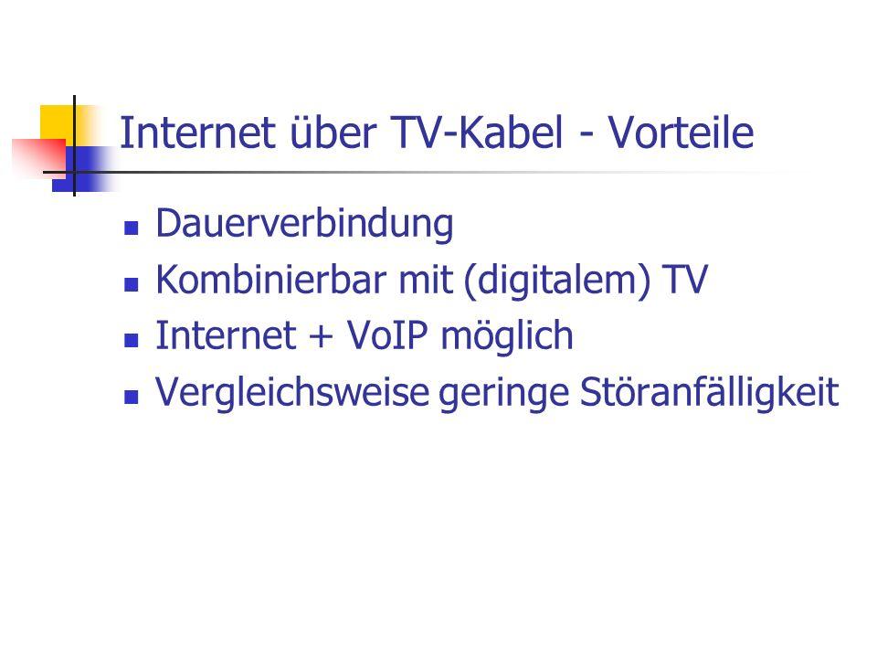 Dauerverbindung Kombinierbar mit (digitalem) TV Internet + VoIP möglich Vergleichsweise geringe Störanfälligkeit Internet über TV-Kabel - Vorteile