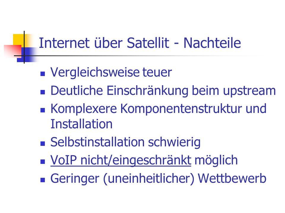 Internet über Satellit - Nachteile Vergleichsweise teuer Deutliche Einschränkung beim upstream Komplexere Komponentenstruktur und Installation Selbsti