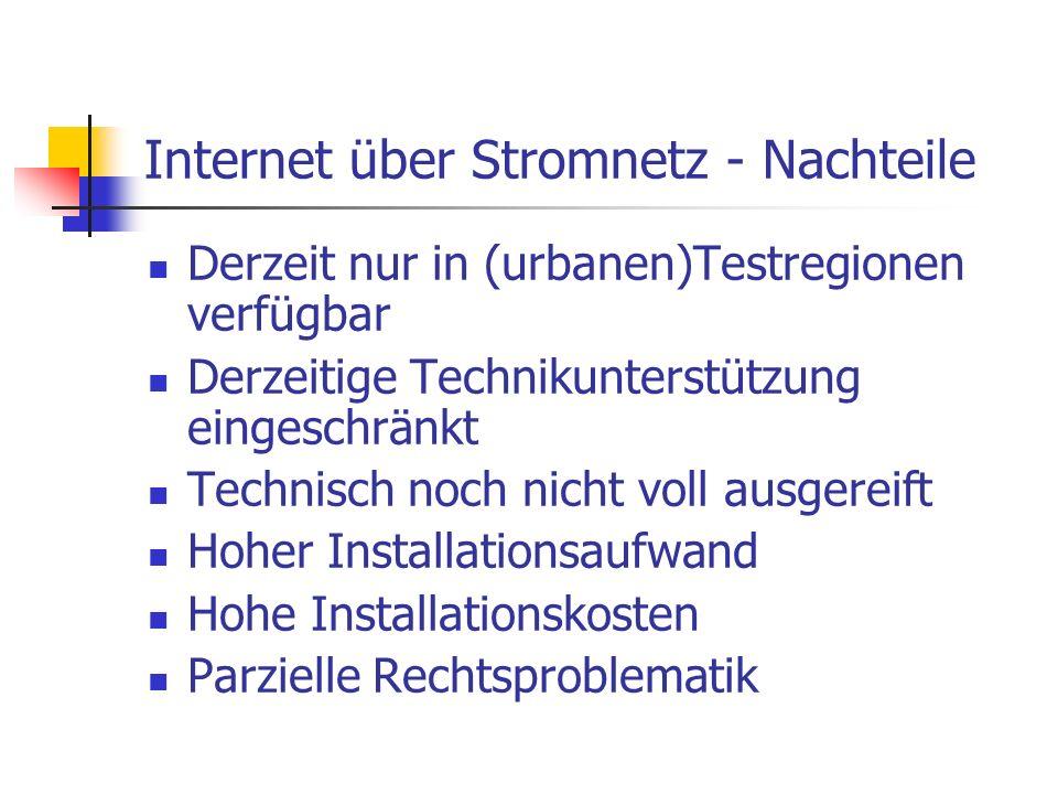 Internet über Stromnetz - Nachteile Derzeit nur in (urbanen)Testregionen verfügbar Derzeitige Technikunterstützung eingeschränkt Technisch noch nicht