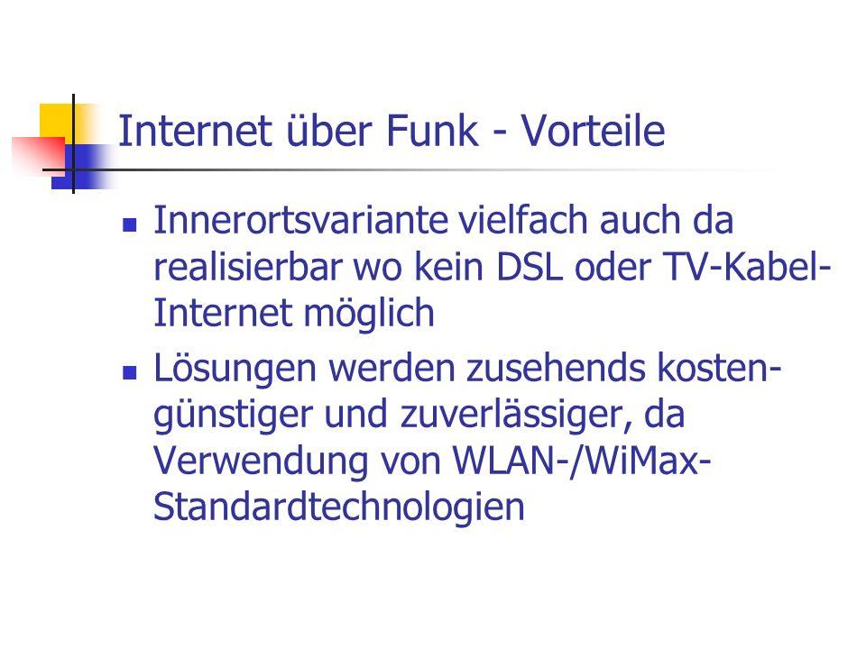 Internet über Funk - Vorteile Innerortsvariante vielfach auch da realisierbar wo kein DSL oder TV-Kabel- Internet möglich Lösungen werden zusehends ko