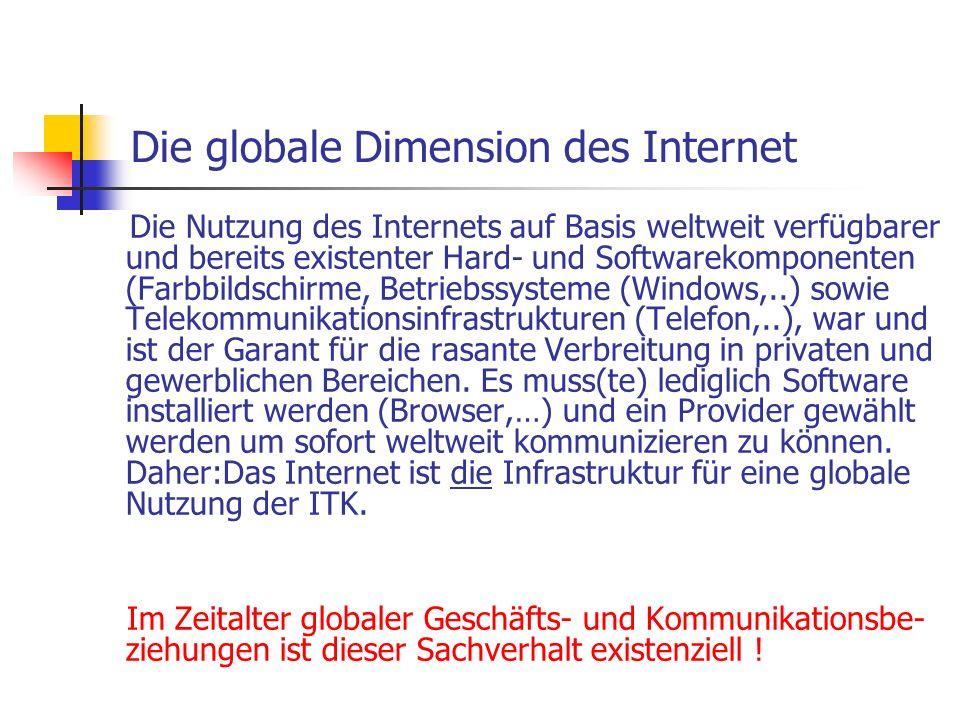Die globale Dimension des Internet Die Nutzung des Internets auf Basis weltweit verfügbarer und bereits existenter Hard- und Softwarekomponenten (Farb