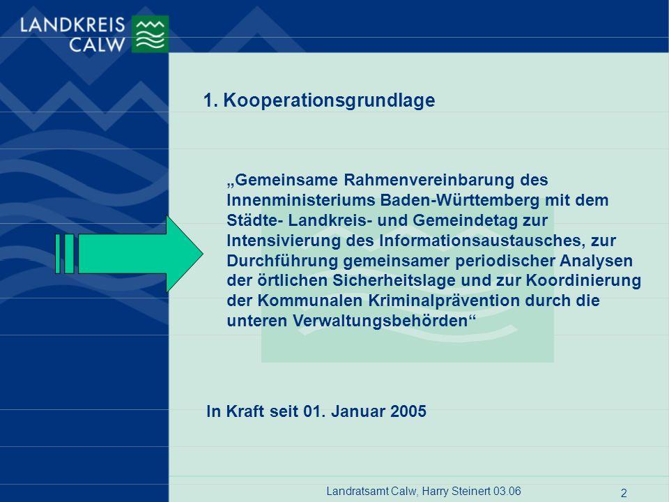 Landratsamt Calw, Harry Steinert 03.06 2 Gemeinsame Rahmenvereinbarung des Innenministeriums Baden-Württemberg mit dem Städte- Landkreis- und Gemeinde