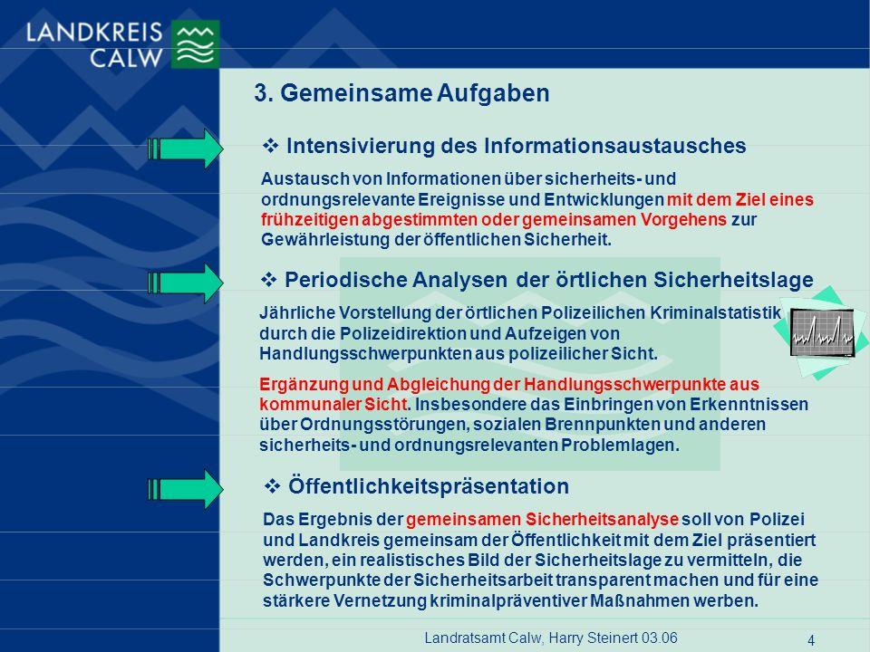 Landratsamt Calw, Harry Steinert 03.06 4 3. Gemeinsame Aufgaben Intensivierung des Informationsaustausches Austausch von Informationen über sicherheit