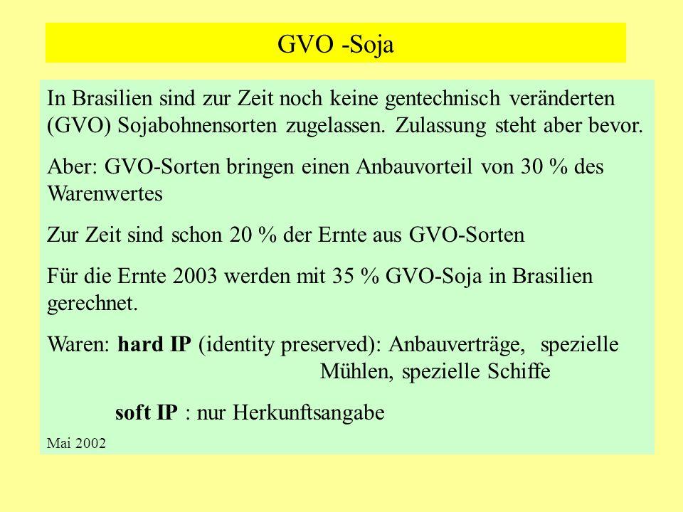 GVO -Soja In Brasilien sind zur Zeit noch keine gentechnisch veränderten (GVO) Sojabohnensorten zugelassen. Zulassung steht aber bevor. Aber: GVO-Sort