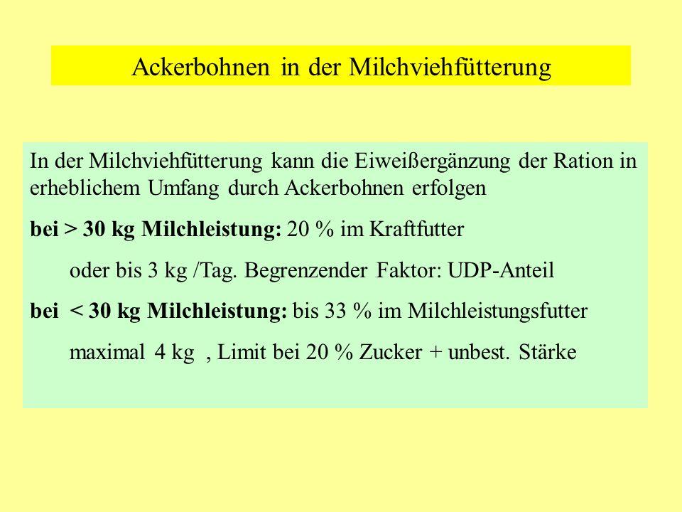 Empfehlungen für den Erbseneinsatz beim Milchvieh bei > 30 kg Milchleistung: 20 % im Kraftfutter oder bis 3 kg /Tag.
