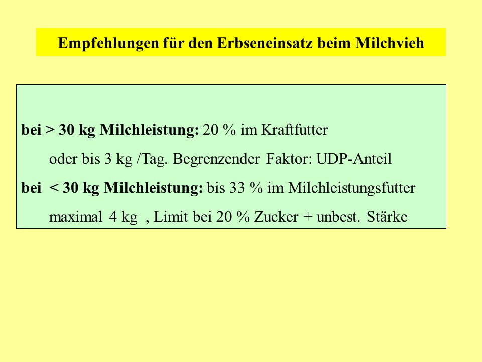 Empfehlungen für den Erbseneinsatz beim Milchvieh bei > 30 kg Milchleistung: 20 % im Kraftfutter oder bis 3 kg /Tag. Begrenzender Faktor: UDP-Anteil b