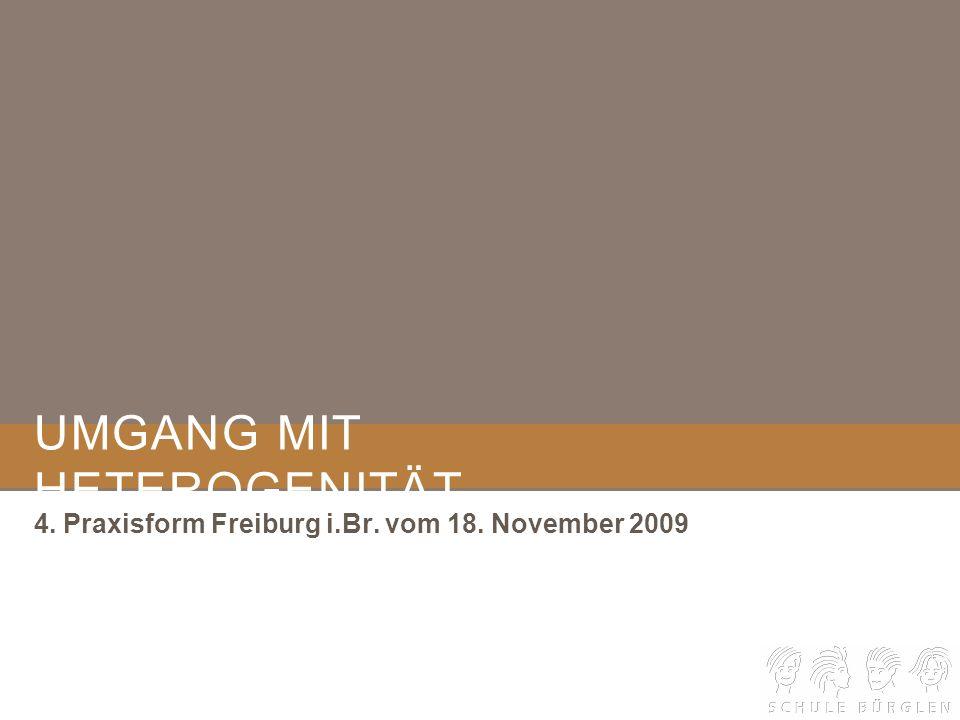 UMGANG MIT HETEROGENITÄT 4. Praxisform Freiburg i.Br. vom 18. November 2009