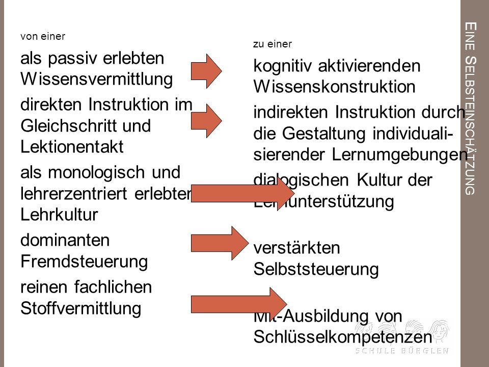E INE S ELBSTEINSCHÄTZUNG von einer als passiv erlebten Wissensvermittlung direkten Instruktion im Gleichschritt und Lektionentakt als monologisch und
