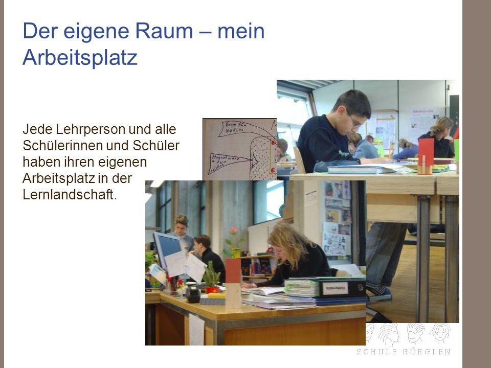Der eigene Raum – mein Arbeitsplatz Jede Lehrperson und alle Schülerinnen und Schüler haben ihren eigenen Arbeitsplatz in der Lernlandschaft.