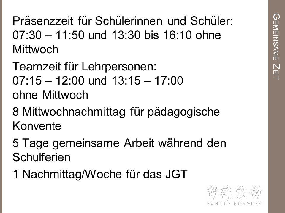 G EMEINSAME Z EIT Präsenzzeit für Schülerinnen und Schüler: 07:30 – 11:50 und 13:30 bis 16:10 ohne Mittwoch Teamzeit für Lehrpersonen: 07:15 – 12:00 u