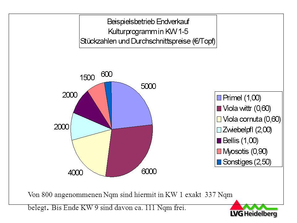 Von 800 angenommenen Nqm sind hiermit in KW 1 exakt 337 Nqm belegt.