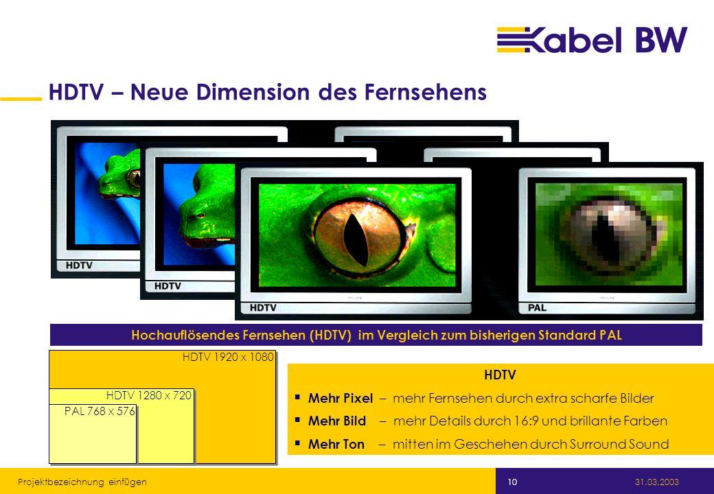 Kabel Baden-Württemberg GmbH 31.03.2003 Projektbezeichnung einfügen 10 HDTV – Neue Dimension des Fernsehens Hochauflösendes Fernsehen (HDTV) im Vergle