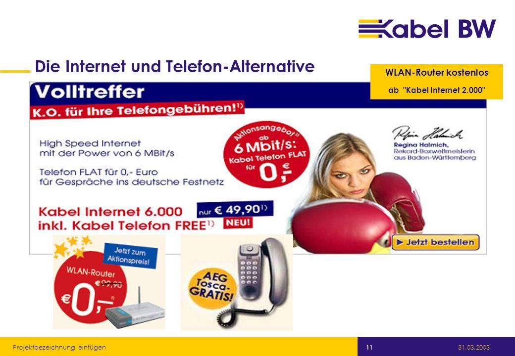 Kabel Baden-Württemberg GmbH 31.03.2003 Projektbezeichnung einfügen 11 WLAN-Router kostenlos ab Kabel Internet 2.000 Die Internet und Telefon-Alternative