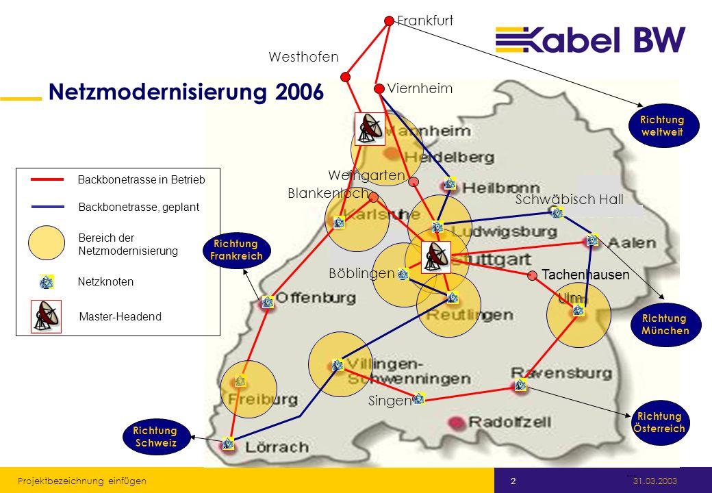 Kabel Baden-Württemberg GmbH 31.03.2003 Projektbezeichnung einfügen 2. 29.01.04 Viernheim Böblingen Singen Ulm Tachenhausen Blankenloch Westhofen Wein