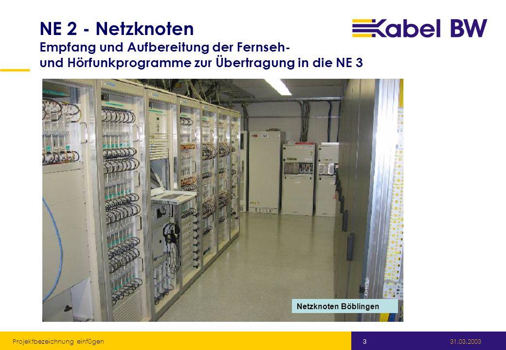 Kabel Baden-Württemberg GmbH 31.03.2003 Projektbezeichnung einfügen 3 NE 2 - Netzknoten Empfang und Aufbereitung der Fernseh- und Hörfunkprogramme zur