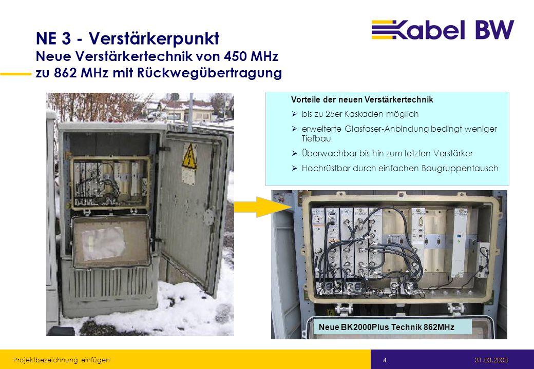 Kabel Baden-Württemberg GmbH 31.03.2003 Projektbezeichnung einfügen 4 NE 3 - Verstärkerpunkt Neue Verstärkertechnik von 450 MHz zu 862 MHz mit Rückwegübertragung Vorteile der neuen Verstärkertechnik bis zu 25er Kaskaden möglich erweiterte Glasfaser-Anbindung bedingt weniger Tiefbau Überwachbar bis hin zum letzten Verstärker Hochrüstbar durch einfachen Baugruppentausch Neue BK2000Plus Technik 862MHz