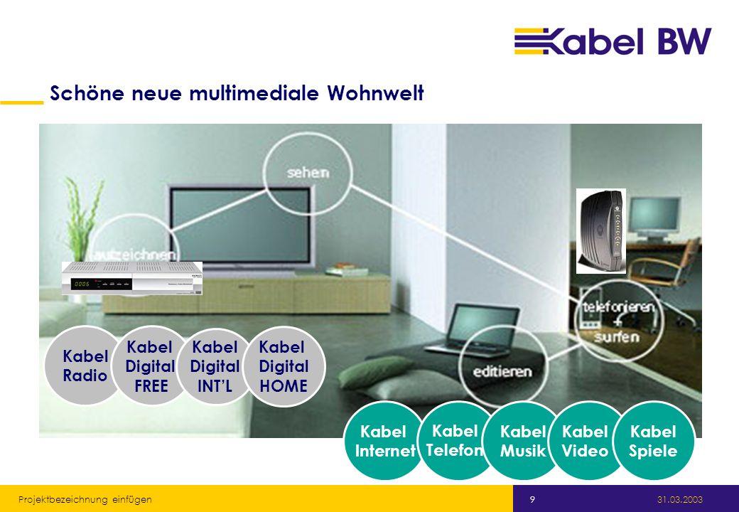 Kabel Baden-Württemberg GmbH 31.03.2003 Projektbezeichnung einfügen 9 Kabel Radio Kabel Digital FREE Kabel Digital INTL Kabel Digital HOME Schöne neue