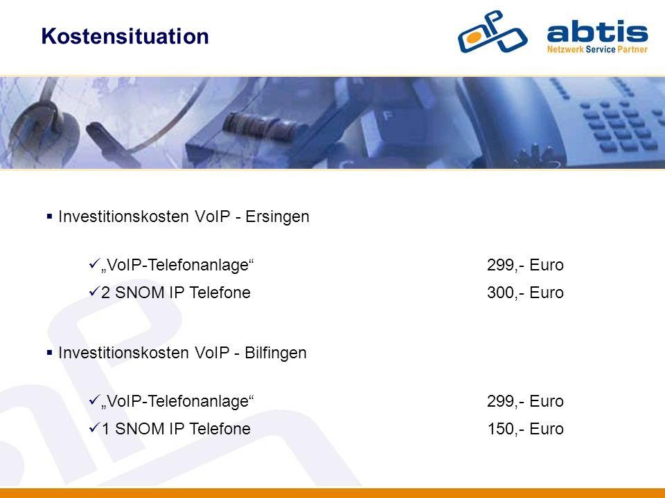 IT - Security Investitionskosten VoIP - Ersingen VoIP-Telefonanlage299,- Euro 2 SNOM IP Telefone300,- Euro Investitionskosten VoIP - Bilfingen VoIP-Te