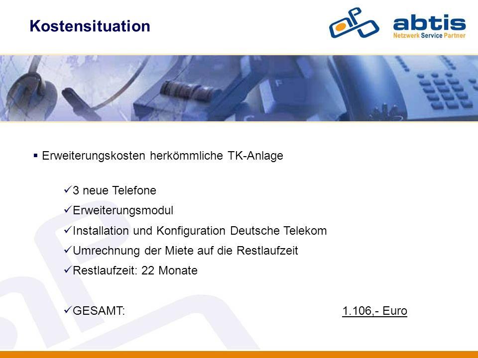 Kostensituation IT - Security Erweiterungskosten herkömmliche TK-Anlage 3 neue Telefone Erweiterungsmodul Installation und Konfiguration Deutsche Tele