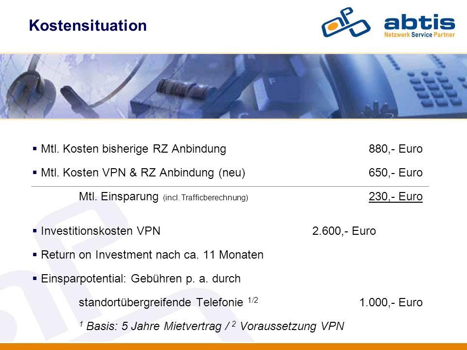 Kostensituation IT - Security Mtl. Kosten bisherige RZ Anbindung 880,- Euro Mtl. Kosten VPN & RZ Anbindung (neu) 650,- Euro Mtl. Einsparung (incl. Tra