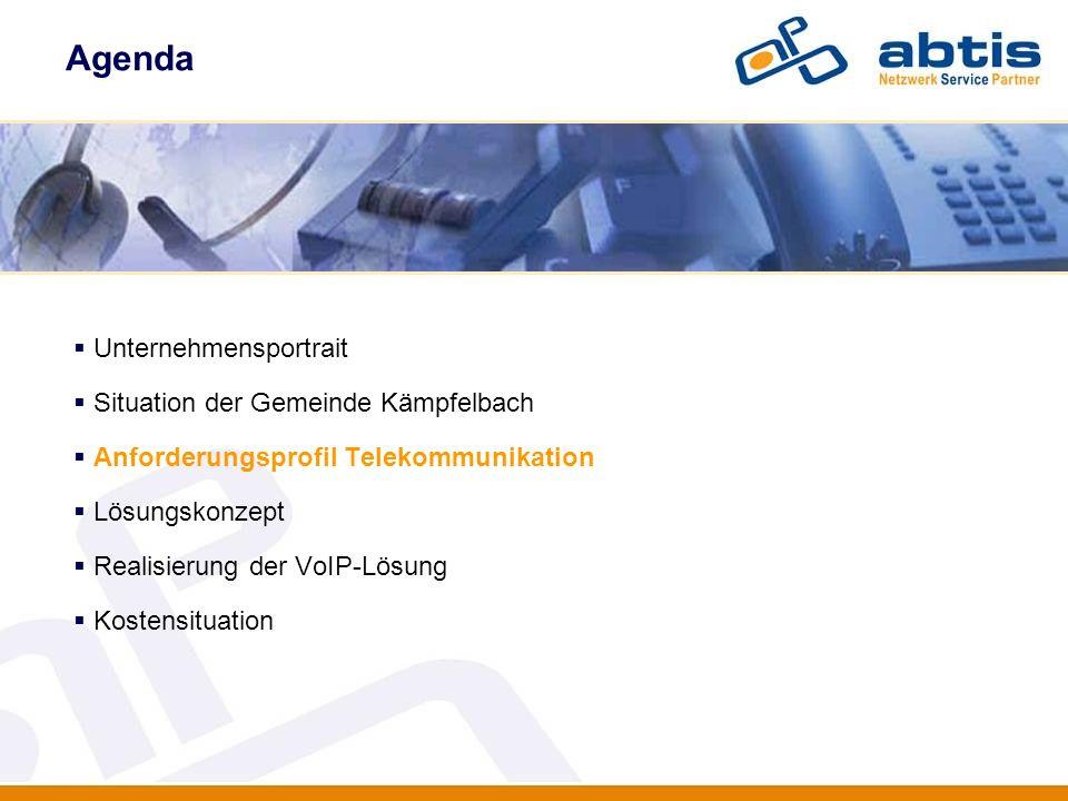 Agenda Unternehmensportrait Situation der Gemeinde Kämpfelbach Anforderungsprofil Telekommunikation Lösungskonzept Realisierung der VoIP-Lösung Kosten