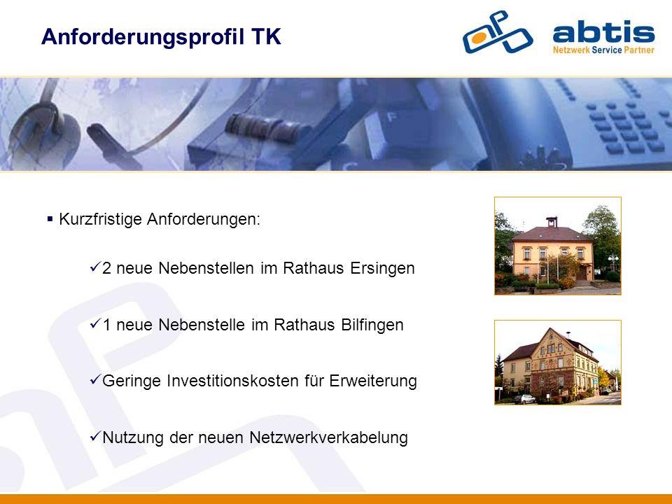 Anforderungsprofil TK IT - Security Kurzfristige Anforderungen: 2 neue Nebenstellen im Rathaus Ersingen 1 neue Nebenstelle im Rathaus Bilfingen Gering