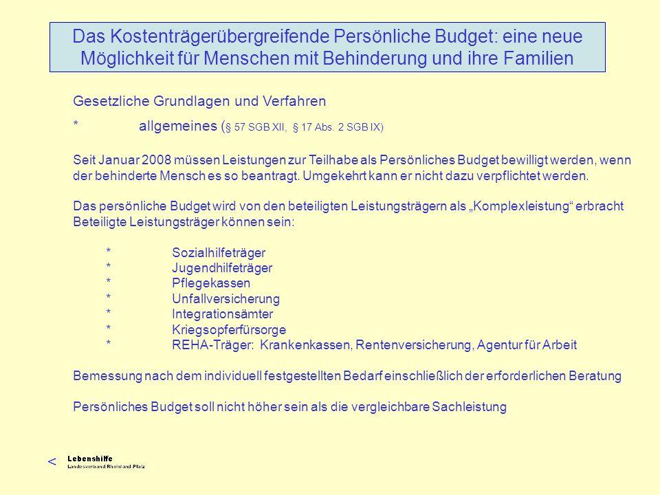 Seit Januar 2008 müssen Leistungen zur Teilhabe als Persönliches Budget bewilligt werden, wenn der behinderte Mensch es so beantragt. Umgekehrt kann e