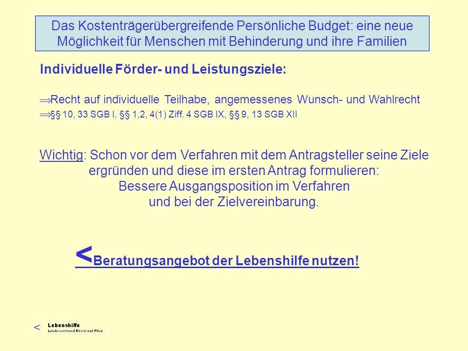 Individuelle Förder- und Leistungsziele: Recht auf individuelle Teilhabe, angemessenes Wunsch- und Wahlrecht §§ 10, 33 SGB I, §§ 1,2, 4(1) Ziff. 4 SGB