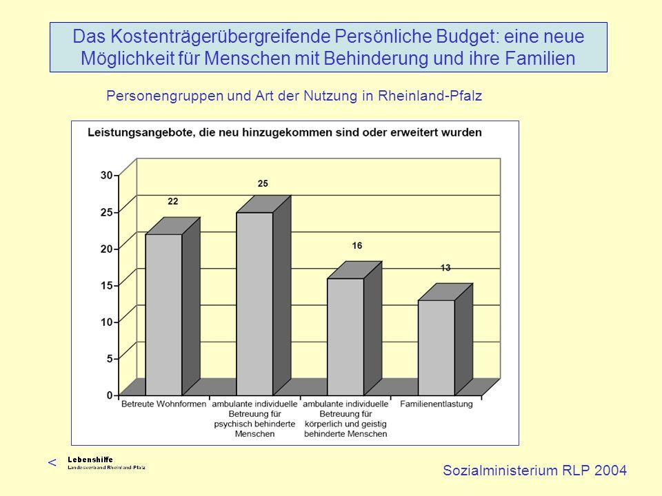 Sozialministerium RLP 2004 Das Kostenträgerübergreifende Persönliche Budget: eine neue Möglichkeit für Menschen mit Behinderung und ihre Familien Pers