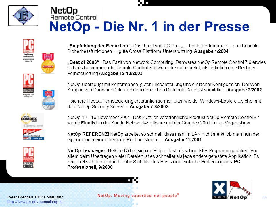 a COMMUNICATION Peter Borchert EDV-Consulting http://www.pb-edv-consulting.de 11 NetOp - Die Nr. 1 in der Presse Empfehlung der Redaktion. Das Fazit v