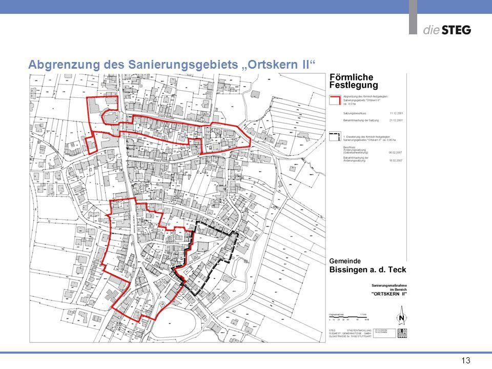 13 Abgrenzung des Sanierungsgebiets Ortskern II
