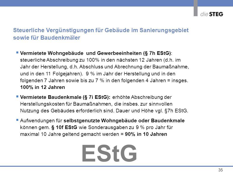 35 Vermietete Wohngebäude und Gewerbeeinheiten (§ 7h EStG): steuerliche Abschreibung zu 100% in den nächsten 12 Jahren (d.h. im Jahr der Herstellung,