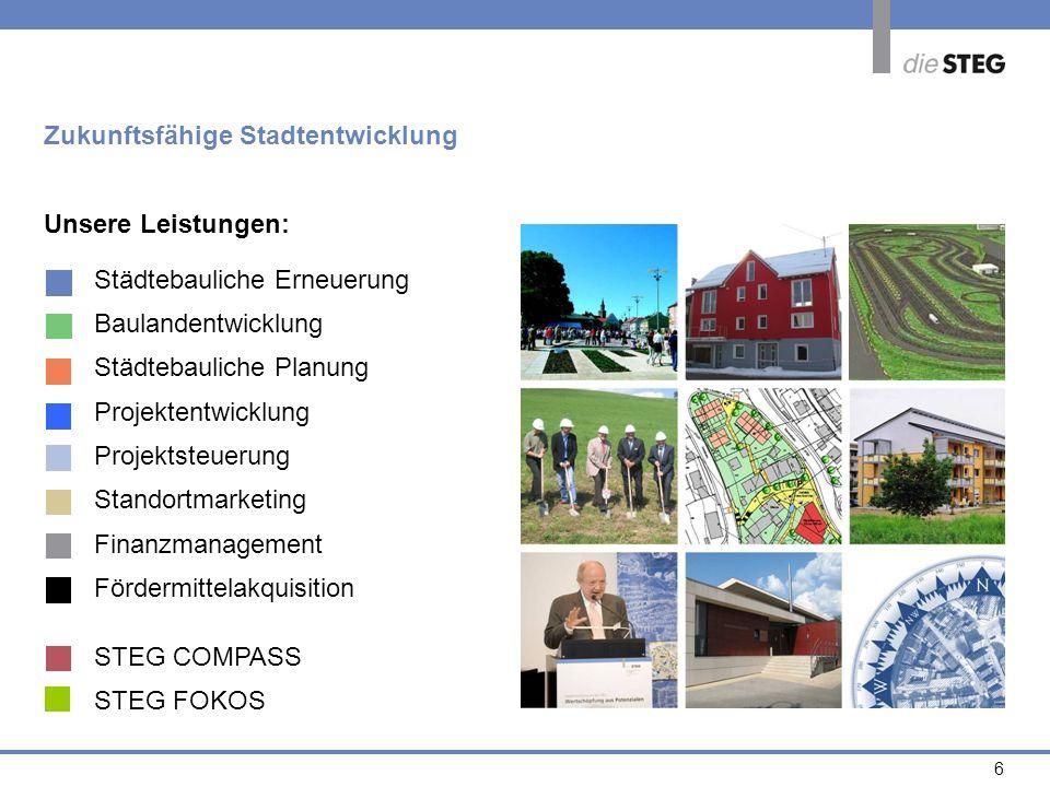 6 Zukunftsfähige Stadtentwicklung Unsere Leistungen: Städtebauliche Erneuerung Baulandentwicklung Städtebauliche Planung Projektentwicklung Projektste