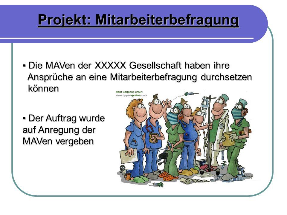 Projekt: Mitarbeiterbefragung Die MAVen der XXXXX Gesellschaft haben ihre Die MAVen der XXXXX Gesellschaft haben ihre Ansprüche an eine Mitarbeiterbef
