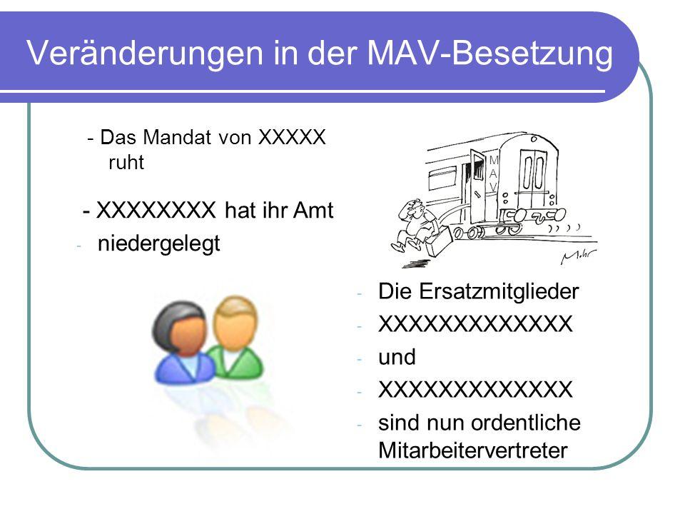 Veränderungen in der MAV-Besetzung - Das Mandat von XXXXX ruht - XXXXXXXX hat ihr Amt - niedergelegt - Die Ersatzmitglieder - XXXXXXXXXXXXX - und - XX