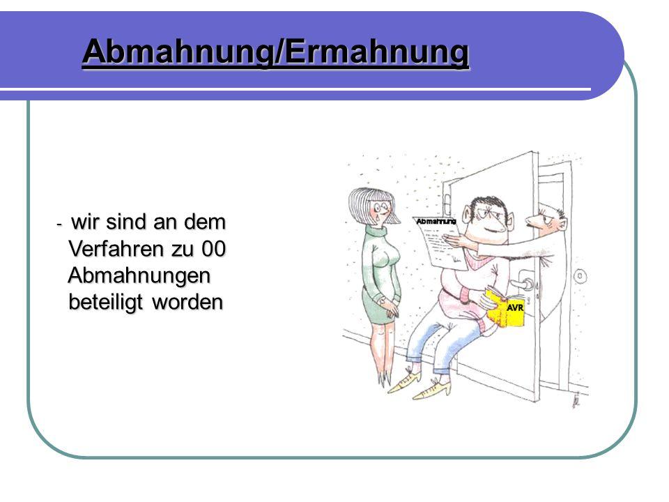 Abmahnung/Ermahnung - wir sind an dem - wir sind an dem Verfahren zu 00 Verfahren zu 00 Abmahnungen Abmahnungen beteiligt worden beteiligt worden