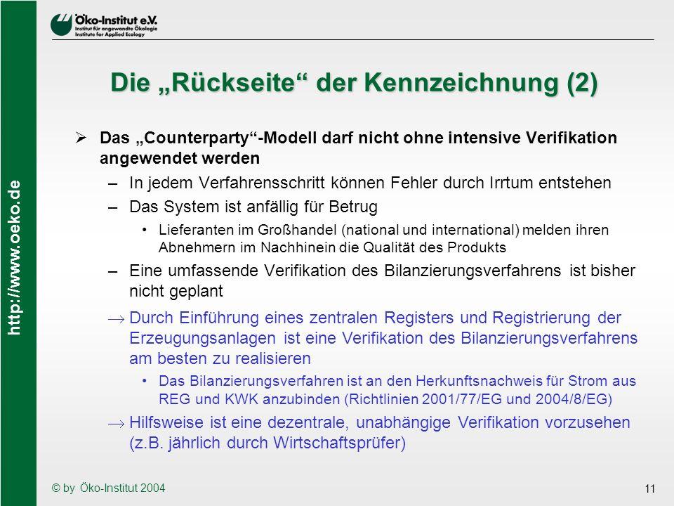 http://www.oeko.de © by Öko-Institut 2004 11 Die Rückseite der Kennzeichnung (2) Das Counterparty-Modell darf nicht ohne intensive Verifikation angewe