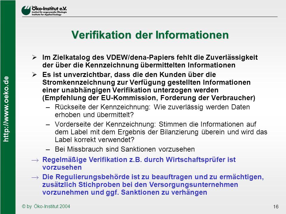 http://www.oeko.de © by Öko-Institut 2004 16 Verifikation der Informationen Im Zielkatalog des VDEW/dena-Papiers fehlt die Zuverlässigkeit der über di