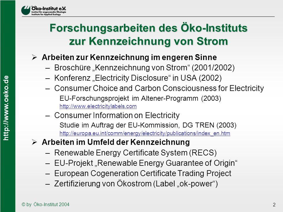 http://www.oeko.de © by Öko-Institut 2004 13 Die Rückseite der Kennzeichnung (4) Die Behandlung von Importen ist nicht klar genug festgelegt und kann zu einem Handelshemmnis werden –Viele europäische Länder führen zentrale Register für Herkunftsnachweise von Strom aus REG (evtl.