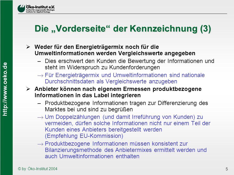 http://www.oeko.de © by Öko-Institut 2004 16 Verifikation der Informationen Im Zielkatalog des VDEW/dena-Papiers fehlt die Zuverlässigkeit der über die Kennzeichnung übermittelten Informationen Es ist unverzichtbar, dass die den Kunden über die Stromkennzeichnung zur Verfügung gestellten Informationen einer unabhängigen Verifikation unterzogen werden (Empfehlung der EU-Kommission, Forderung der Verbraucher) –Rückseite der Kennzeichnung: Wie zuverlässig werden Daten erhoben und übermittelt.