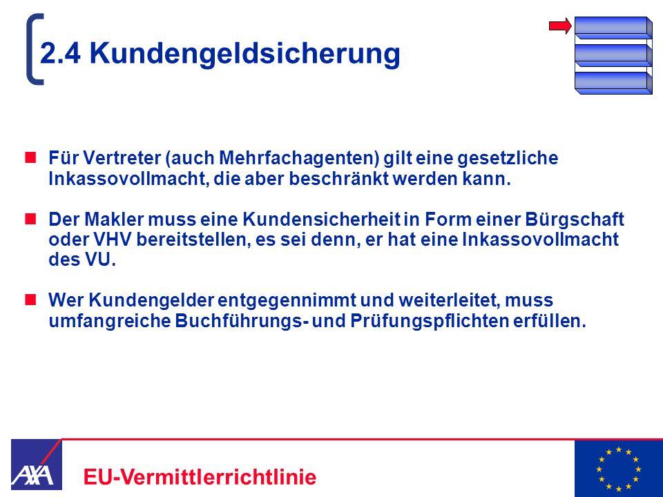 22.05.2006 10 EU-Vermittlerrichtlinie 2.4 Kundengeldsicherung Für Vertreter (auch Mehrfachagenten) gilt eine gesetzliche Inkassovollmacht, die aber be