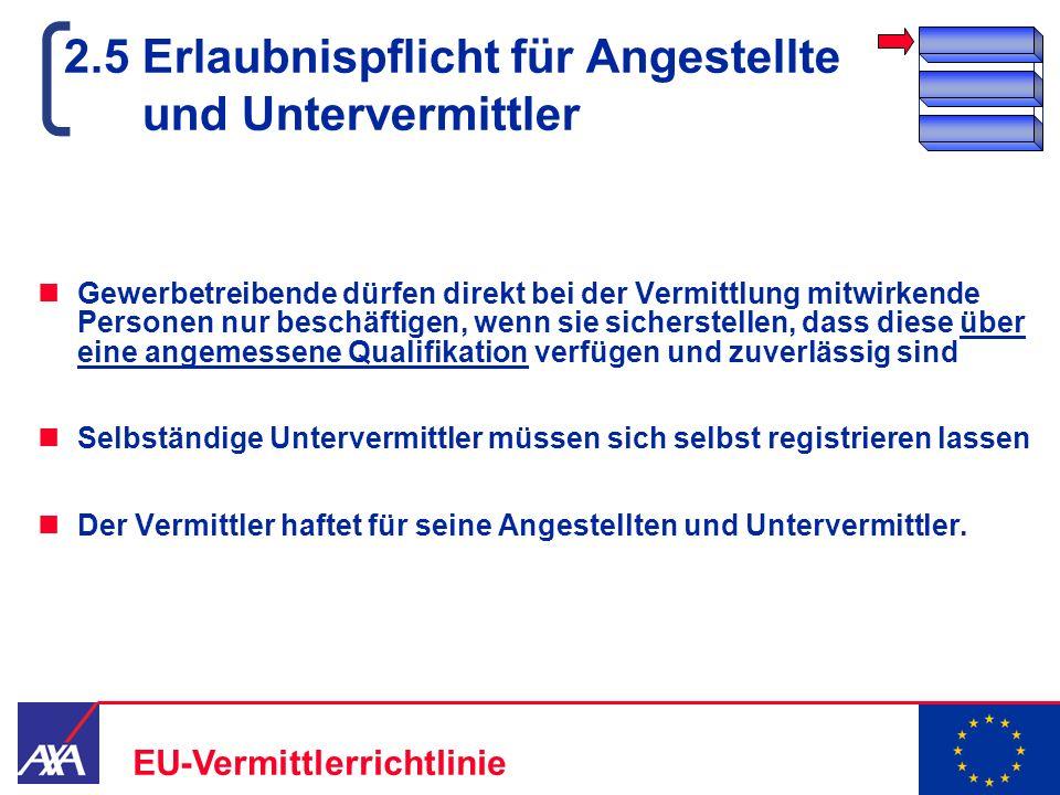 22.05.2006 11 EU-Vermittlerrichtlinie 2.5 Erlaubnispflicht für Angestellte und Untervermittler Gewerbetreibende dürfen direkt bei der Vermittlung mitw