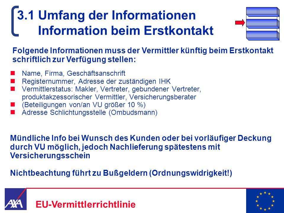 22.05.2006 12 EU-Vermittlerrichtlinie 3.1 Umfang der Informationen Information beim Erstkontakt Name, Firma, Geschäftsanschrift Registernummer, Adress