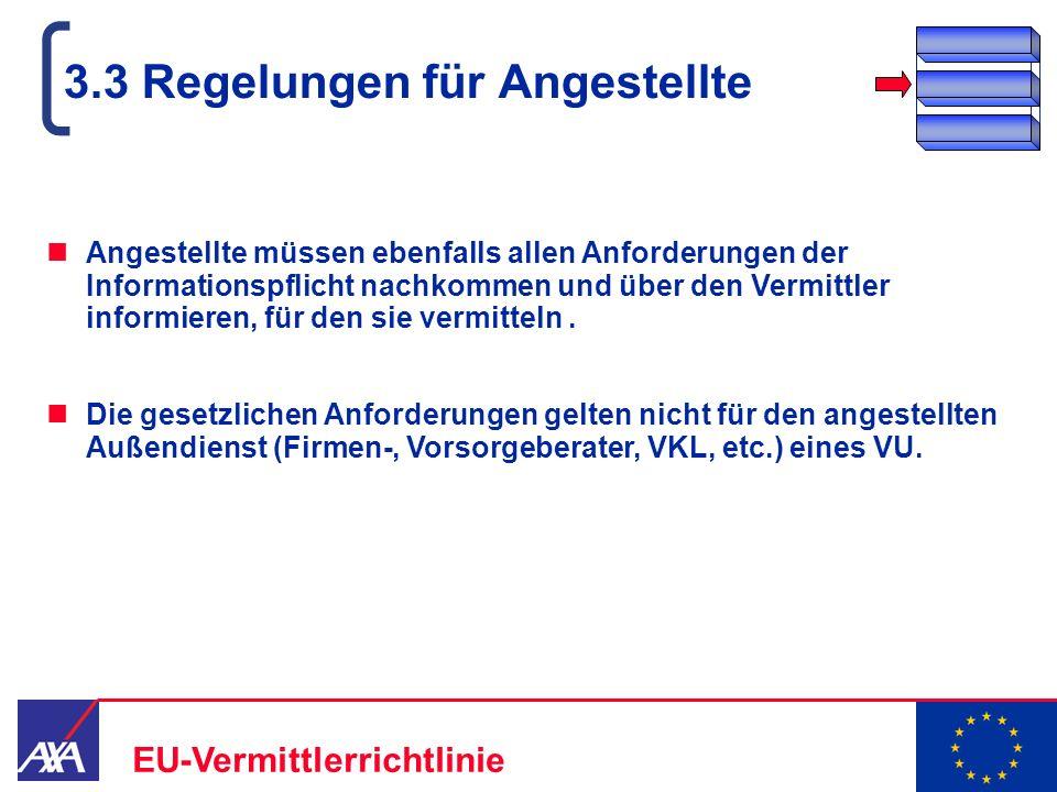 22.05.2006 14 EU-Vermittlerrichtlinie 3.3 Regelungen für Angestellte Angestellte müssen ebenfalls allen Anforderungen der Informationspflicht nachkomm