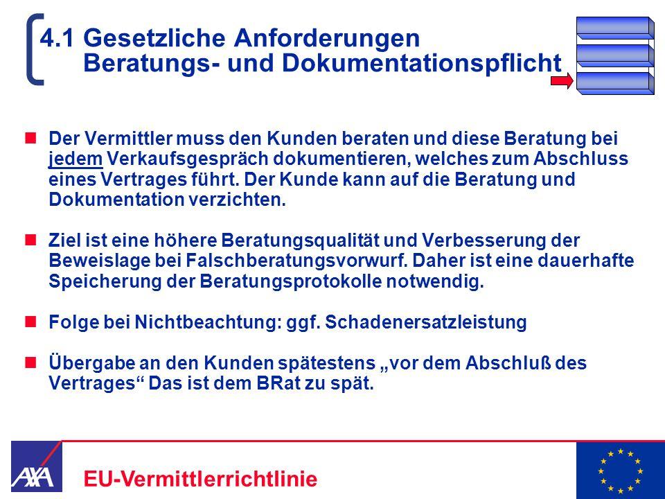 22.05.2006 15 EU-Vermittlerrichtlinie 4.1 Gesetzliche Anforderungen Beratungs- und Dokumentationspflicht Der Vermittler muss den Kunden beraten und di