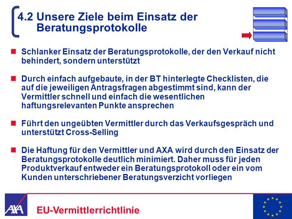 22.05.2006 16 EU-Vermittlerrichtlinie 4.2 Unsere Ziele beim Einsatz der Beratungsprotokolle Schlanker Einsatz der Beratungsprotokolle, der den Verkauf