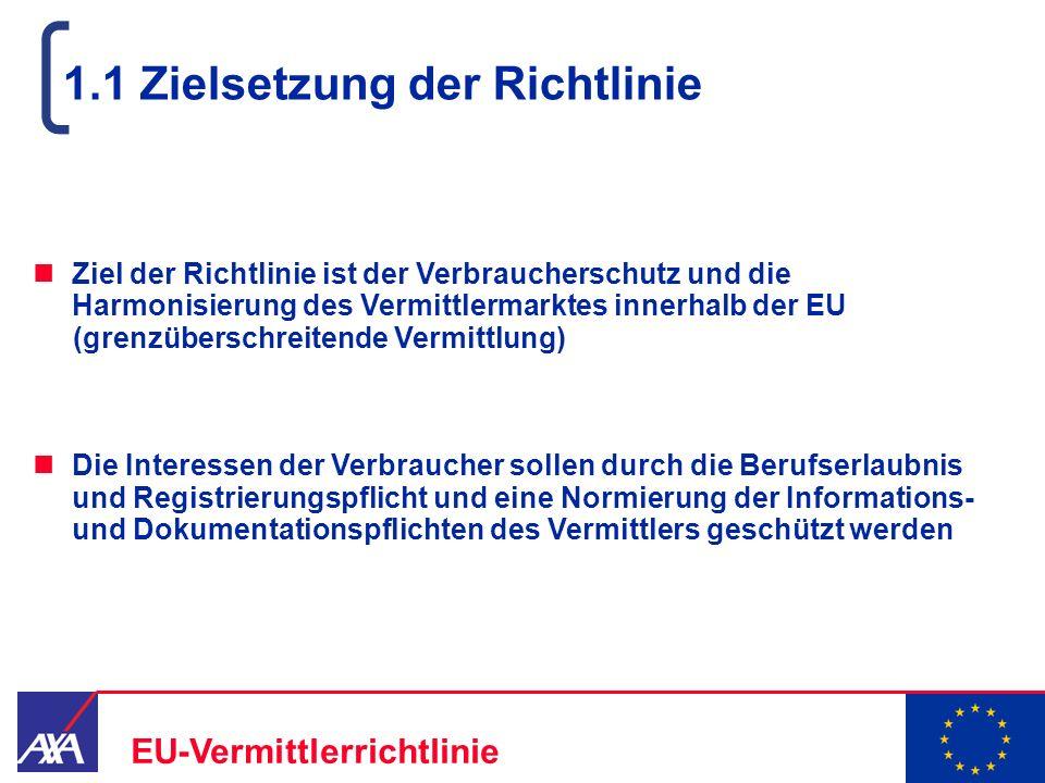 22.05.2006 3 EU-Vermittlerrichtlinie 1.1 Zielsetzung der Richtlinie Ziel der Richtlinie ist der Verbraucherschutz und die Harmonisierung des Vermittle