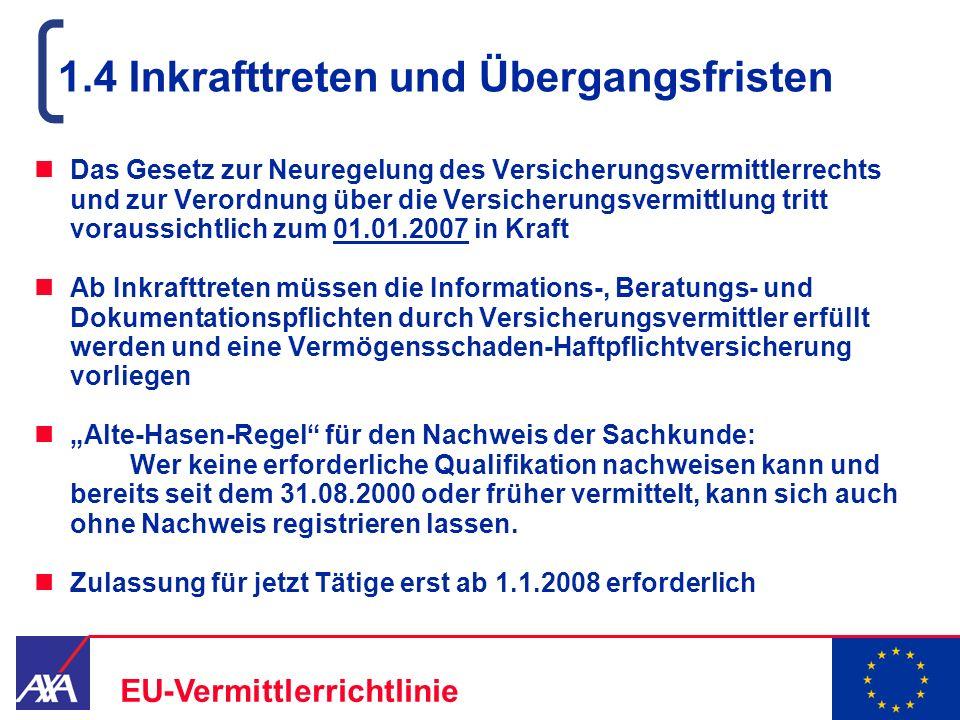 22.05.2006 6 EU-Vermittlerrichtlinie 1.4 Inkrafttreten und Übergangsfristen Das Gesetz zur Neuregelung des Versicherungsvermittlerrechts und zur Veror